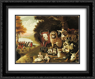 A Peaceable Kingdom 24x20 Black or Gold Ornate Framed and Double Matted Art Print by Edward Hicks
