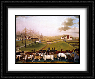 An Indian Summer View of the Farm & Stock of James C. Cornell 24x20 Black or Gold Ornate Framed and Double Matted Art Print by Edward Hicks