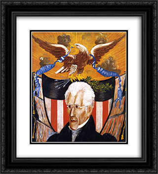 Andrew Jackson 20x22 Black or Gold Ornate Framed and Double Matted Art Print by Edward Hicks