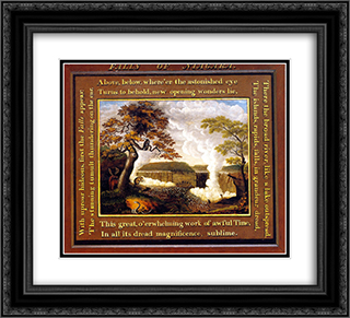 Falls of Niagara 22x20 Black or Gold Ornate Framed and Double Matted Art Print by Edward Hicks