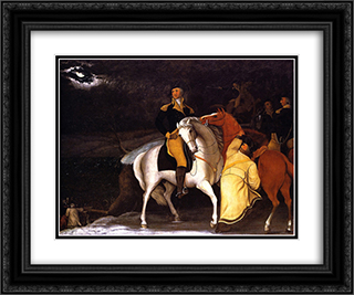 George Washington with His Army Crossing the Delaware 24x20 Black or Gold Ornate Framed and Double Matted Art Print by Edward Hicks