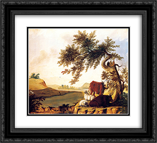 Landscape 22x20 Black or Gold Ornate Framed and Double Matted Art Print by Edward Hicks