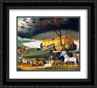 Noah's Ark 22x20 Black or Gold Ornate Framed and Double Matted Art Print by Edward Hicks