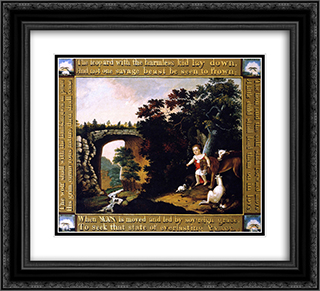 Peaceable Kingdom 22x20 Black or Gold Ornate Framed and Double Matted Art Print by Edward Hicks
