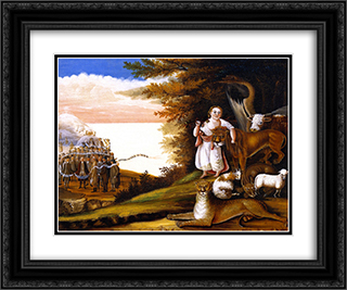Peaceable Kingdom 24x20 Black or Gold Ornate Framed and Double Matted Art Print by Edward Hicks
