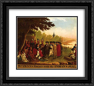 Penn's Treaty 22x20 Black or Gold Ornate Framed and Double Matted Art Print by Edward Hicks
