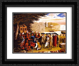 Penn's Treaty 24x20 Black or Gold Ornate Framed and Double Matted Art Print by Edward Hicks