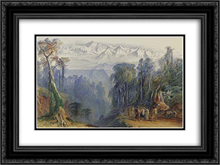 Kinchinjunga from Darjeeling, Himalayas 24x18 Black or Gold Ornate Framed and Double Matted Art Print by Edward Lear