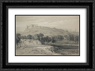 Lithography of Melfi 24x18 Black or Gold Ornate Framed and Double Matted Art Print by Edward Lear