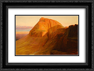Masada on the Dead Sea 24x18 Black or Gold Ornate Framed and Double Matted Art Print by Edward Lear