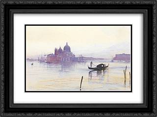Santa Maria Della Salute from across the Bacino, Venice 24x18 Black or Gold Ornate Framed and Double Matted Art Print by Edward Lear