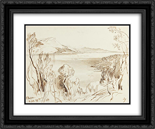 St. Hospice 24x20 Black or Gold Ornate Framed and Double Matted Art Print by Edward Lear