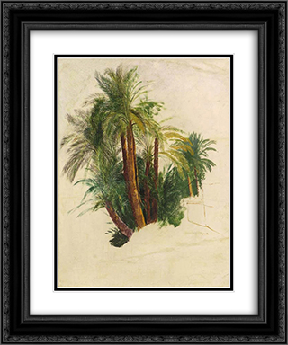 Study of palm trees 20x24 Black or Gold Ornate Framed and Double Matted Art Print by Edward Lear