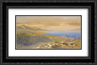 The Dead Sea, Jordan 24x16 Black or Gold Ornate Framed and Double Matted Art Print by Edward Lear