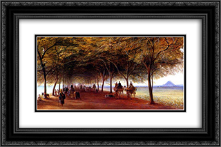 The Pyramids Road, Gizah 24x16 Black or Gold Ornate Framed and Double Matted Art Print by Edward Lear