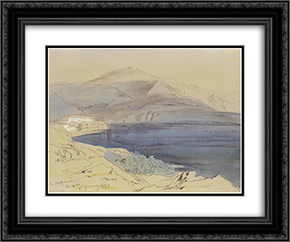 Villefranche 24x20 Black or Gold Ornate Framed and Double Matted Art Print by Edward Lear