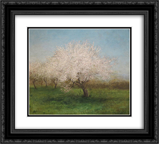 Apple Trees in a Meadow 22x20 Black or Gold Ornate Framed and Double Matted Art Print by Edward Mitchell Bannister