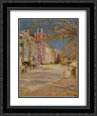 Boston Street Scene (Boston Common) 20x24 Black or Gold Ornate Framed and Double Matted Art Print by Edward Mitchell Bannister