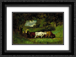 Driving Home the Cows 24x18 Black or Gold Ornate Framed and Double Matted Art Print by Edward Mitchell Bannister