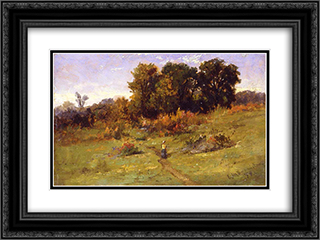 Landscape with Woman Walking on Path 24x18 Black or Gold Ornate Framed and Double Matted Art Print by Edward Mitchell Bannister