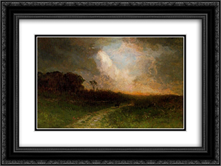 Man on a Horse 24x18 Black or Gold Ornate Framed and Double Matted Art Print by Edward Mitchell Bannister