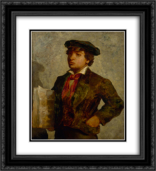 Newspaper Boy 20x22 Black or Gold Ornate Framed and Double Matted Art Print by Edward Mitchell Bannister