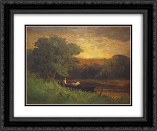 River Scene 24x20 Black or Gold Ornate Framed and Double Matted Art Print by Edward Mitchell Bannister