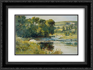 Streamside 24x18 Black or Gold Ornate Framed and Double Matted Art Print by Edward Mitchell Bannister