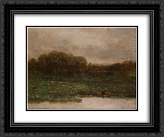 Summer Twilight 24x20 Black or Gold Ornate Framed and Double Matted Art Print by Edward Mitchell Bannister