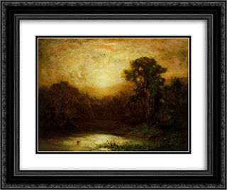 Sunset 24x20 Black or Gold Ornate Framed and Double Matted Art Print by Edward Mitchell Bannister