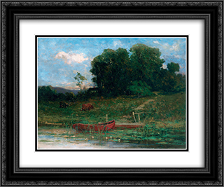 The Farm Landing 24x20 Black or Gold Ornate Framed and Double Matted Art Print by Edward Mitchell Bannister