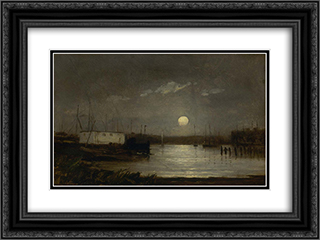 Untitled (Moon Over a Harbor) 24x18 Black or Gold Ornate Framed and Double Matted Art Print by Edward Mitchell Bannister