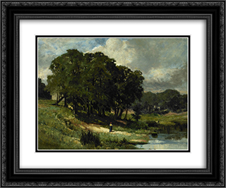 Woman Standing Near a Pond 24x20 Black or Gold Ornate Framed and Double Matted Art Print by Edward Mitchell Bannister