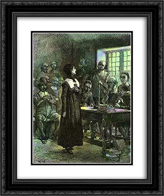 Anne Hutchinson on Trial 20x24 Black or Gold Ornate Framed and Double Matted Art Print by Edwin Austin Abbey