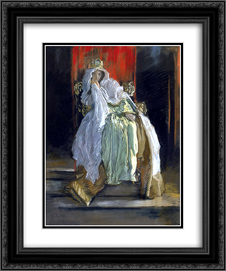 La reine dans Hamlet 20x24 Black or Gold Ornate Framed and Double Matted Art Print by Edwin Austin Abbey