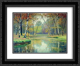 Autumn 24x20 Black or Gold Ornate Framed and Double Matted Art Print by Efim Volkov