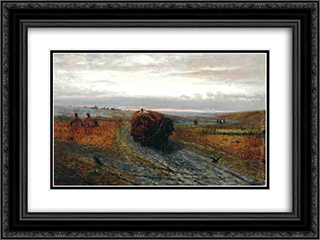 During Haying 24x18 Black or Gold Ornate Framed and Double Matted Art Print by Efim Volkov