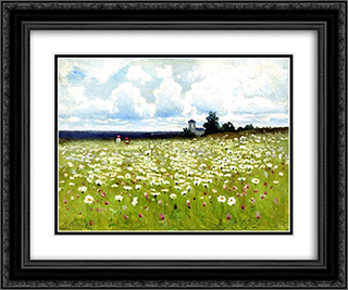 Field of Daisies 24x20 Black or Gold Ornate Framed and Double Matted Art Print by Efim Volkov