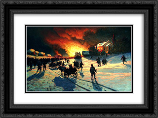 Fire 24x18 Black or Gold Ornate Framed and Double Matted Art Print by Efim Volkov