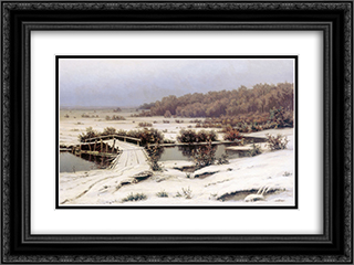 First Snow 24x18 Black or Gold Ornate Framed and Double Matted Art Print by Efim Volkov