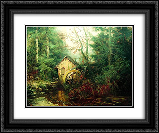 Forest Landscape with Watermill 24x20 Black or Gold Ornate Framed and Double Matted Art Print by Efim Volkov