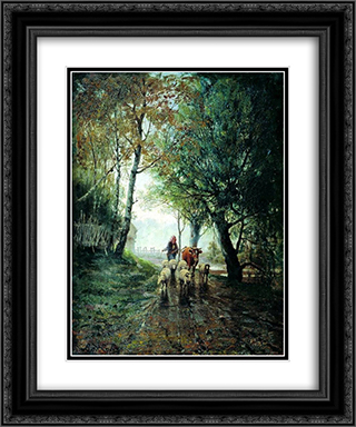 Grazing 20x24 Black or Gold Ornate Framed and Double Matted Art Print by Efim Volkov