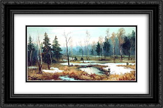 In Late winter 24x16 Black or Gold Ornate Framed and Double Matted Art Print by Efim Volkov