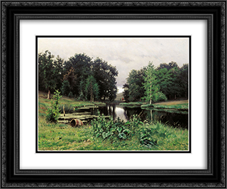Landscape with a Pond 24x20 Black or Gold Ornate Framed and Double Matted Art Print by Efim Volkov