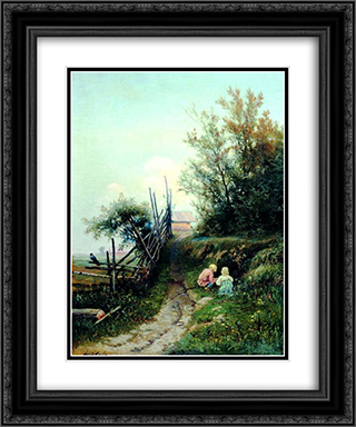 Landscape with the Village Children 20x24 Black or Gold Ornate Framed and Double Matted Art Print by Efim Volkov