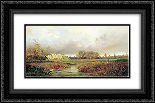 Marsh in Autumn 24x16 Black or Gold Ornate Framed and Double Matted Art Print by Efim Volkov