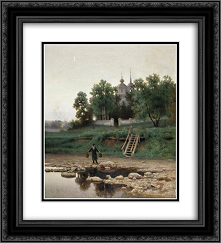 Near the Monastery 20x22 Black or Gold Ornate Framed and Double Matted Art Print by Efim Volkov