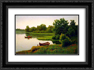 Summer Landscape with Fisherman 24x18 Black or Gold Ornate Framed and Double Matted Art Print by Efim Volkov