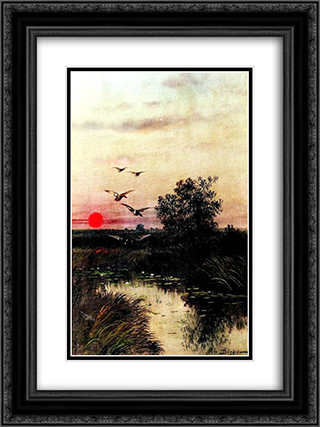 Sunset over the Lake 18x24 Black or Gold Ornate Framed and Double Matted Art Print by Efim Volkov