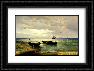 The Beach 24x18 Black or Gold Ornate Framed and Double Matted Art Print by Efim Volkov